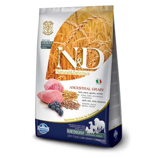 N&D hrana za pse Ancestral Grain LAMB & BLUEBERRY (Adult, Medium & Maxi) 2.5kg